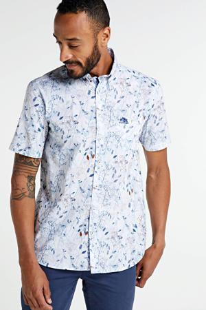 gebloemd regular fit overhemd wit/blauw/rood
