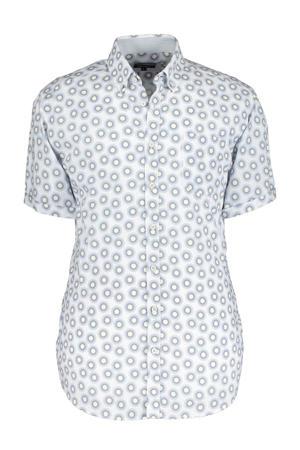 regular fit overhemd met all over print blauw/geel