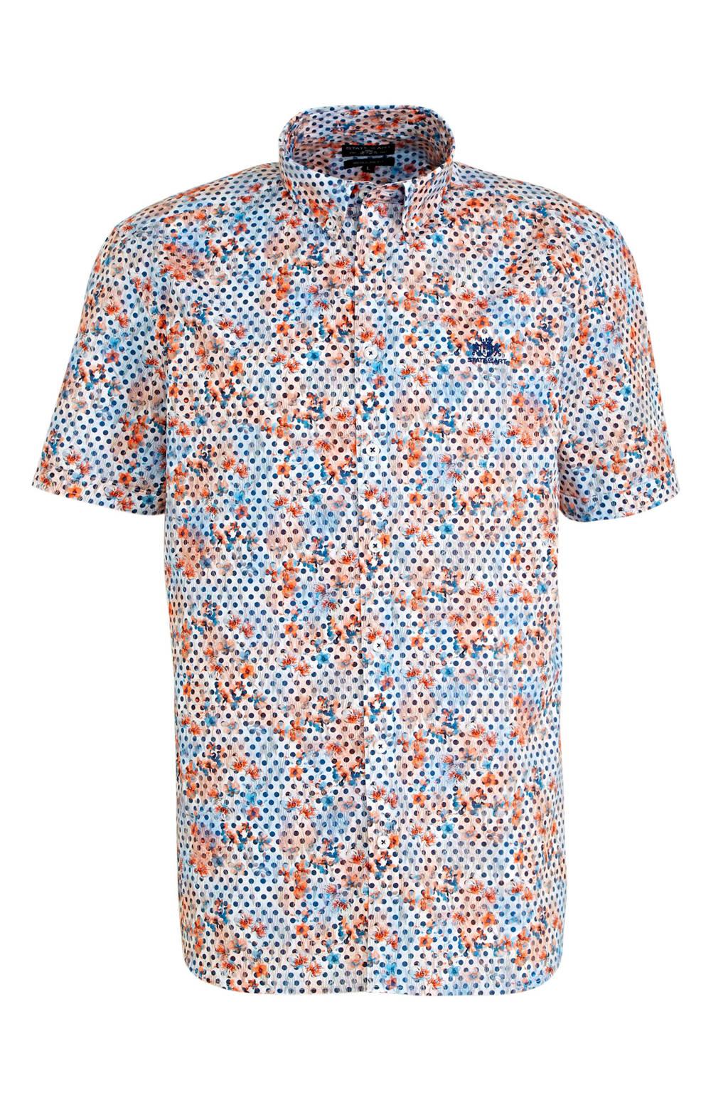 State of Art gebloemd slim fit overhemd kobalt/oranje, Kobalt/oranje