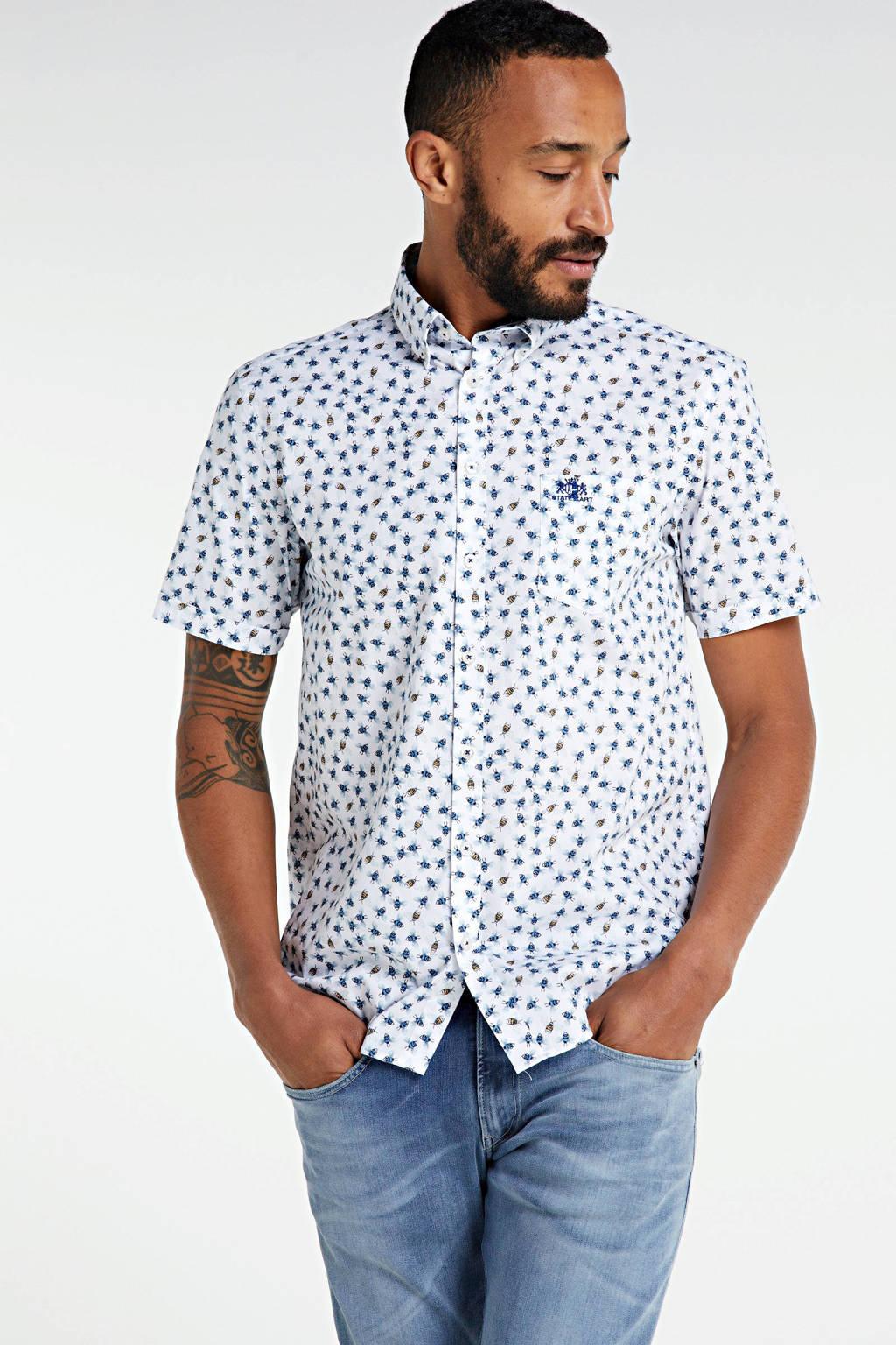 State of Art regular fit overhemd met all over print wit/blauw/geel, Wit/blauw/geel