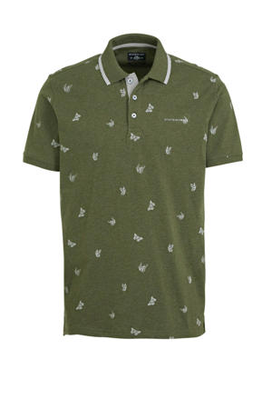 regular fit polo met all over print mosgroen