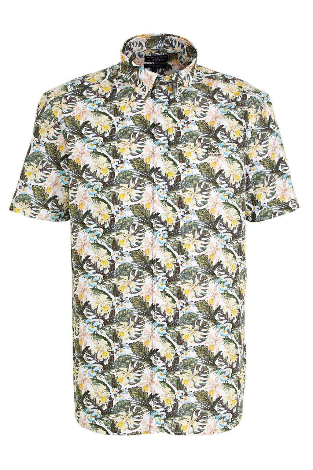 State of Art gebloemd slim fit overhemd mosgroen/geel, Mosgroen/geel
