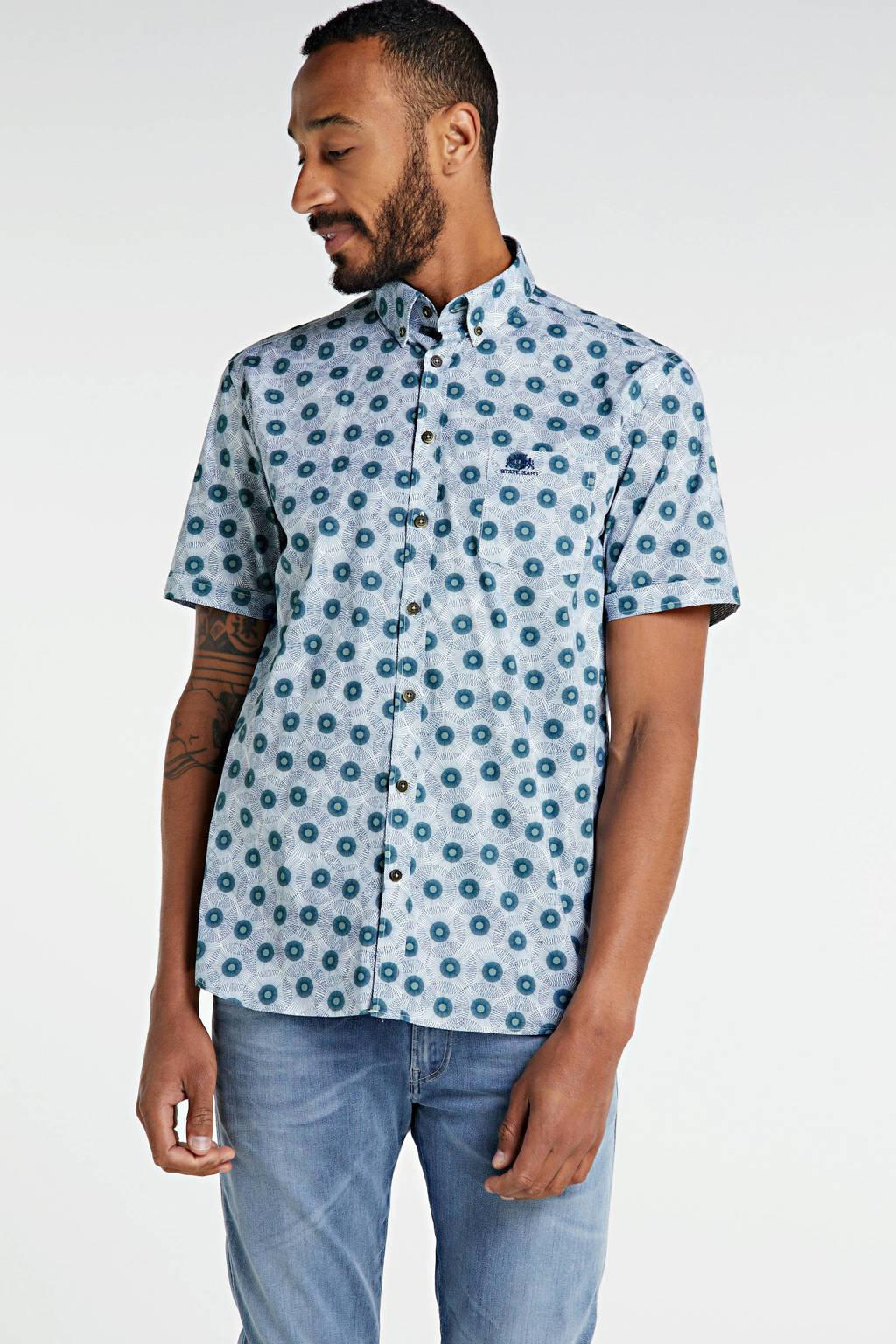 State of Art regular fit overhemd met all over print wit/groen, Wit/groen