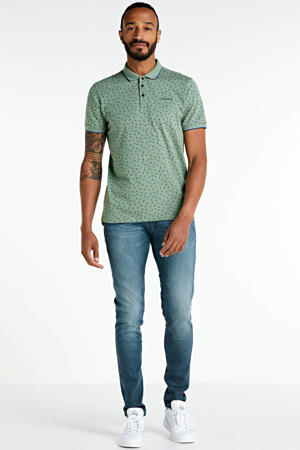 regular fit polo met all over print groen