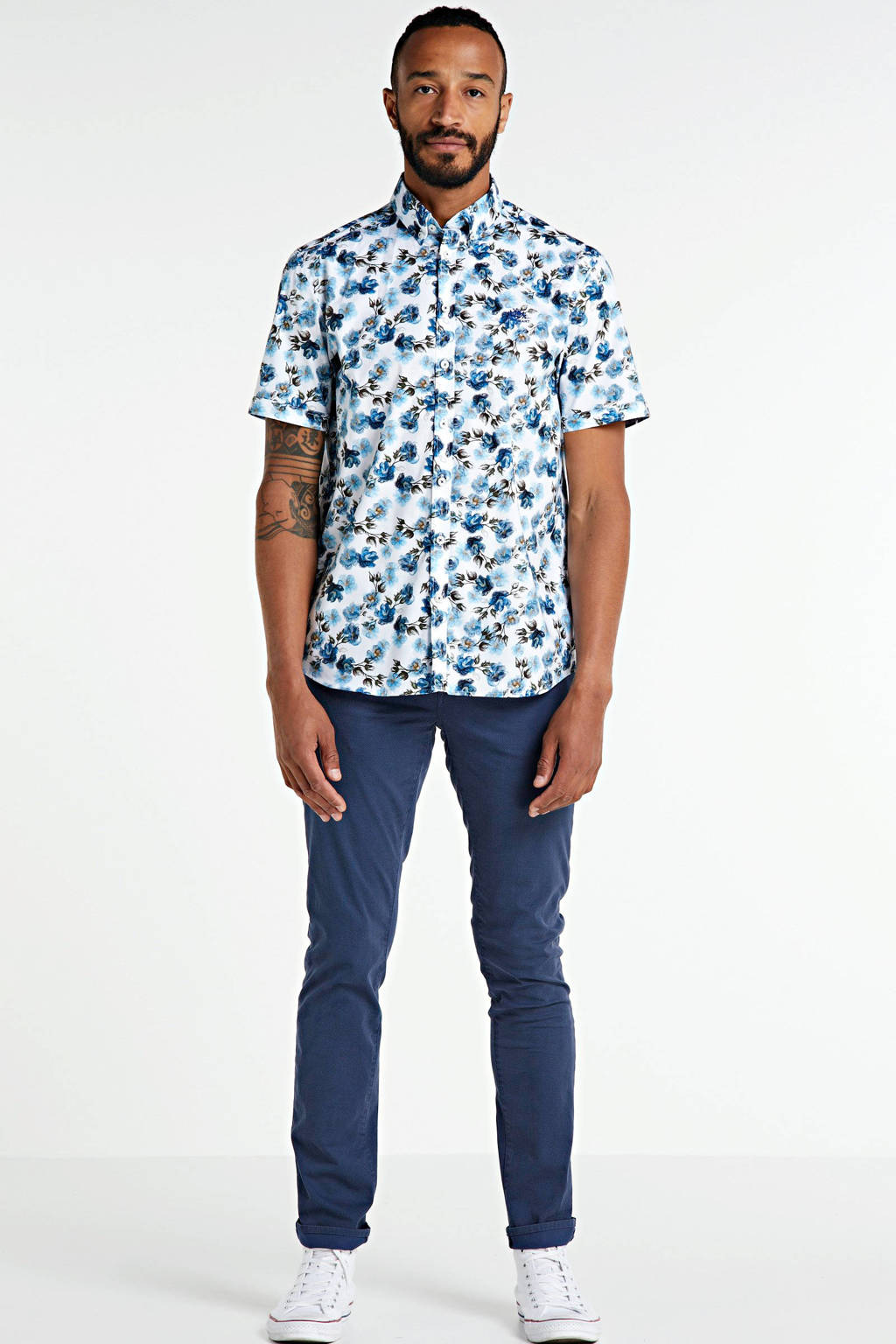 State of Art regular fit overhemd met all over print wit/mosgroen, Wit/mosgroen