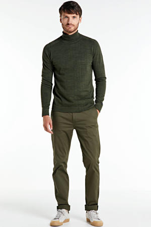 Mott slim fit chino mosgroen