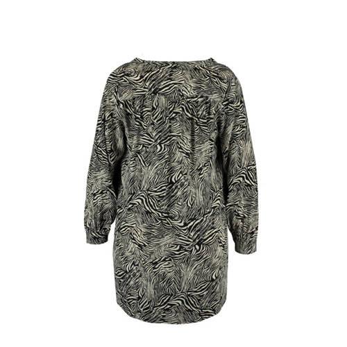 MS Mode tuniek met all over print zwart/ecru