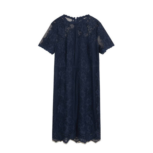 Violeta by Mango jurk en kant donkerblauw