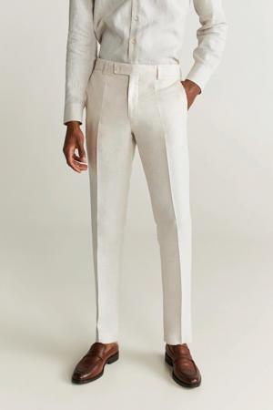 linnen slim fit pantalon wit