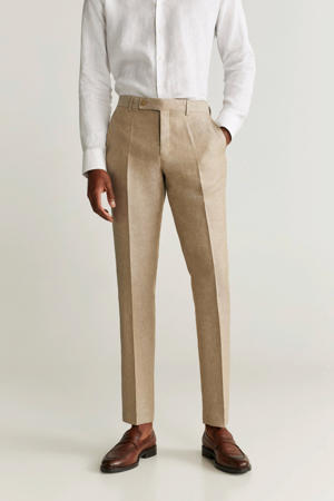 linnen slim fit pantalon lichtbeige