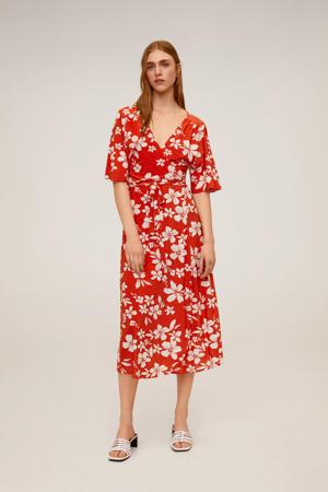 gebloemde maxi jurk rood