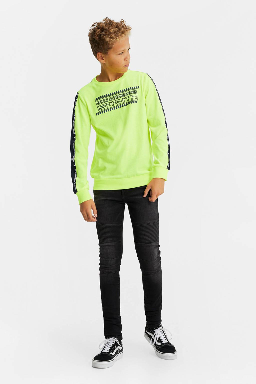 WE Fashion longsleeve met contrastbies groen, Neon geel