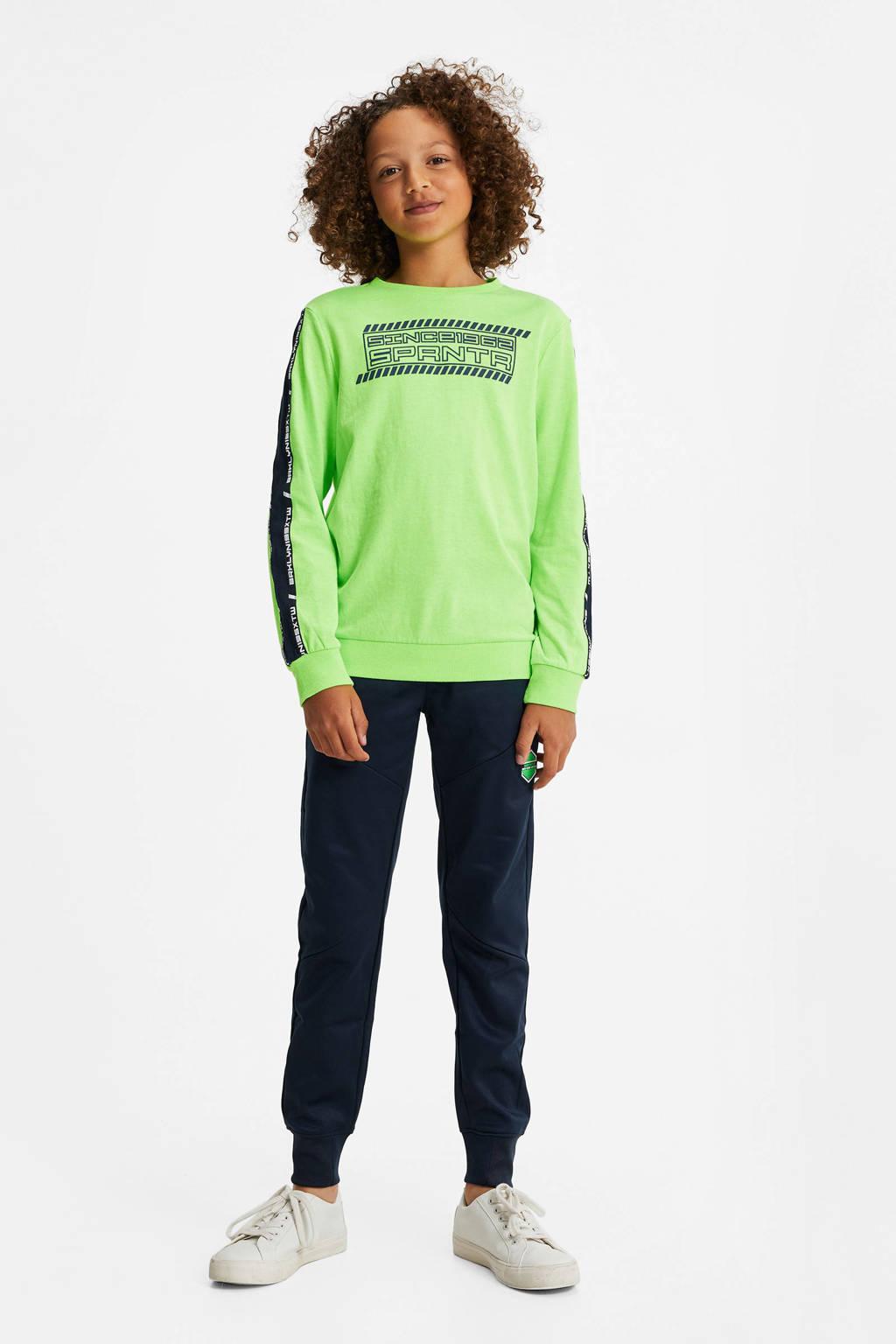 WE Fashion longsleeve met contrastbies groen, Groen