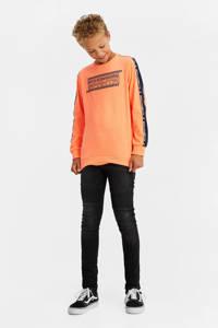 WE Fashion longsleeve met contrastbies oranje, Oranje