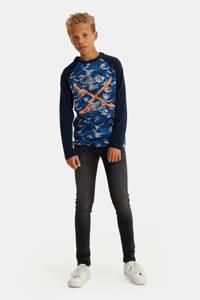 WE Fashion longsleeve met camouflageprint blauw/zwart, Blauw/zwart