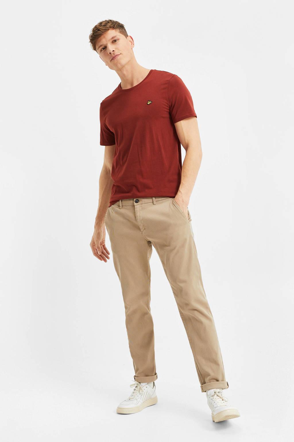 WE Fashion T-shirt van biologisch katoen donkerrood, Donkerrood