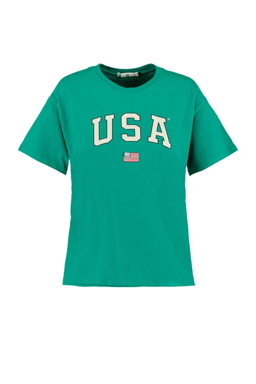 America Today T-shirt Elly USA met printopdruk groen, Groen