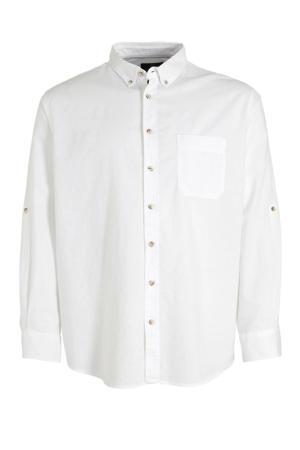 regular fit overhemd met linnen wit