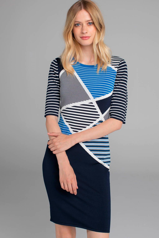 Claudia Sträter gestreepte jersey jurk donkerblauw/wit, Donkerblauw/wit