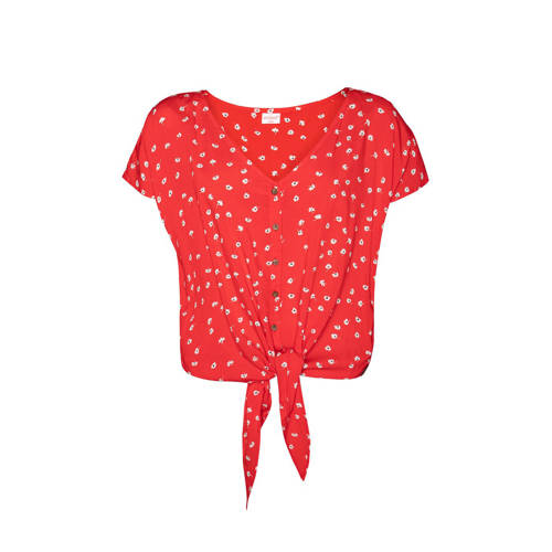 Protest blouse met bloemen rood/wit