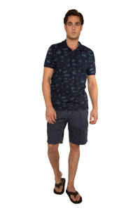 Protest slim fit polo met all over print donkerblauw/blauw, Donkerblauw/blauw