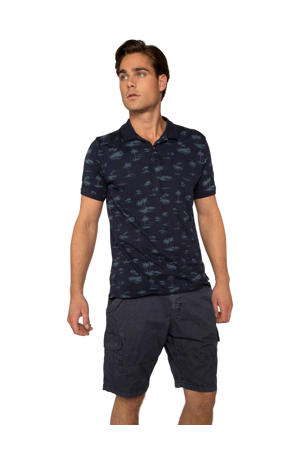 slim fit polo met all over print donkerblauw/blauw