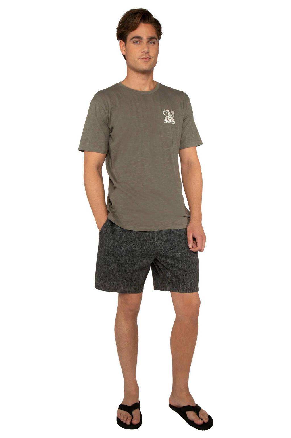 Protest T-shirt met printopdruk kaki, kaki/wit