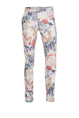 gebloemde slim fit broek Sandy lichtroze/blauw