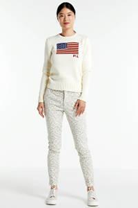 NickJean slim fit broek Sandy met panterprint beige, Beige