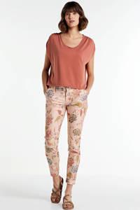 NickJean gebloemde slim fit broek Sandy oranje/roze, Oranje/roze