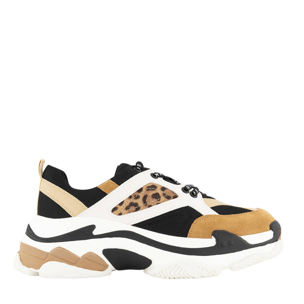NIKKIE Dalia Animal   chunky sneakers zwart/bruin, bruin/zwart/wit