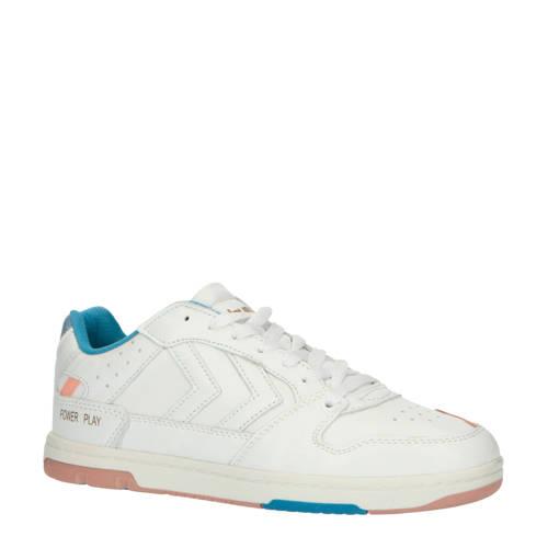 hummel Power Play leren sneakers wit/lichtroze