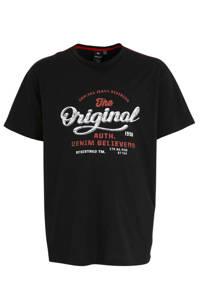 Replika +size T-shirt met printopdruk zwart/wit/rood, Zwart/wit/rood