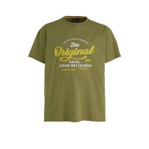 Replika +size T-shirt met printopdruk groen