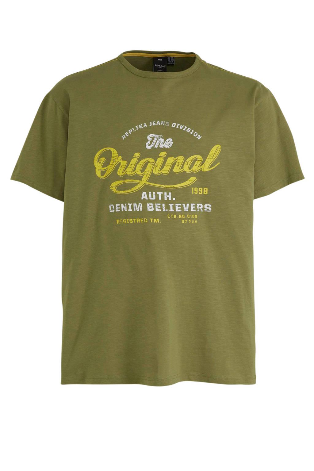 Replika +size T-shirt met printopdruk groen, Groen