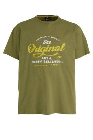 +size T-shirt met printopdruk groen