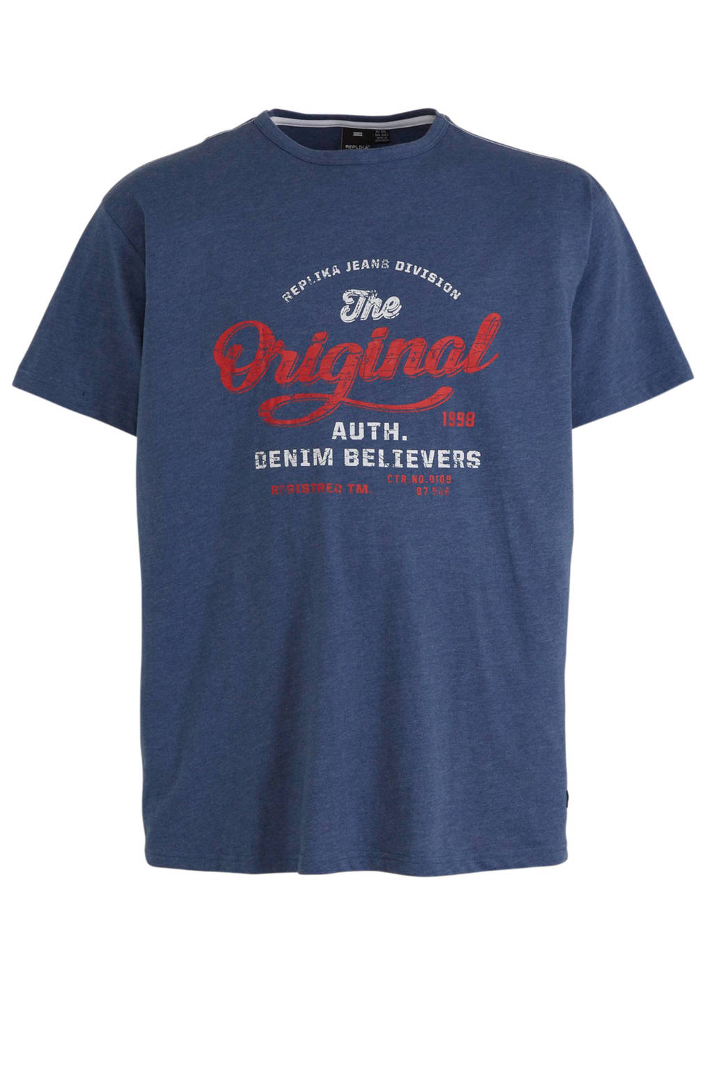 Replika +size T-shirt met printopdruk donkerblauw, Donkerblauw