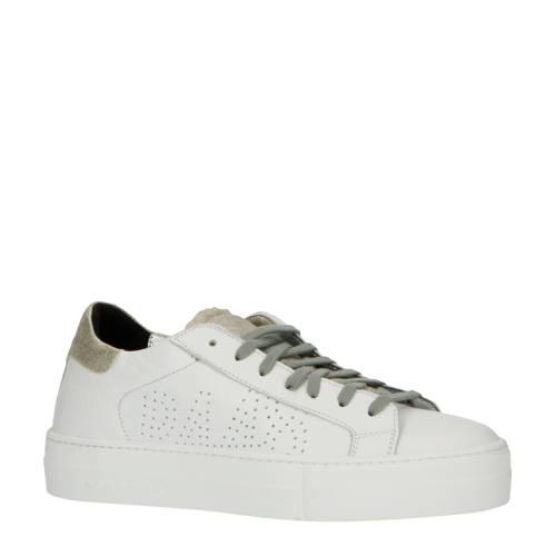 P448 Thea leren sneakers wit/zwart