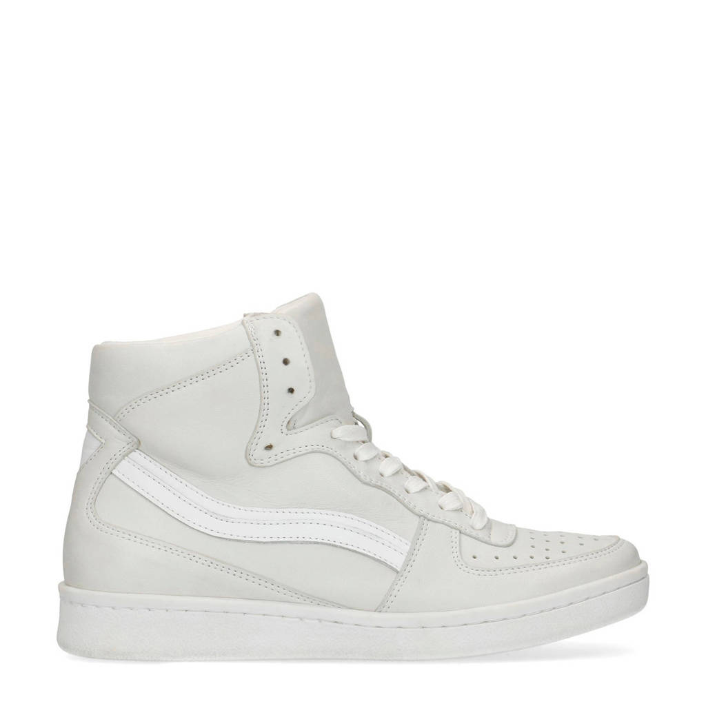 Sacha   halfhoge leren sneakers off white, Off white/Wit