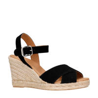 Manfield   suède sandalettes zwart, Zwart