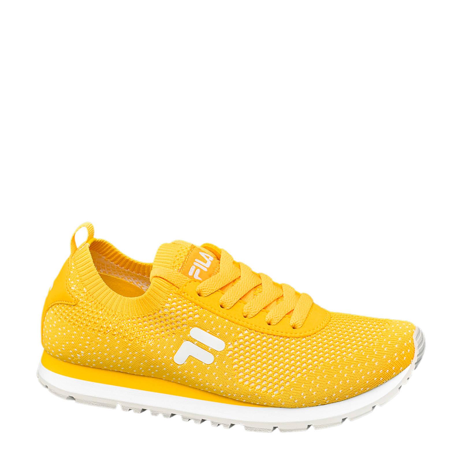 Knitted sneakers geel