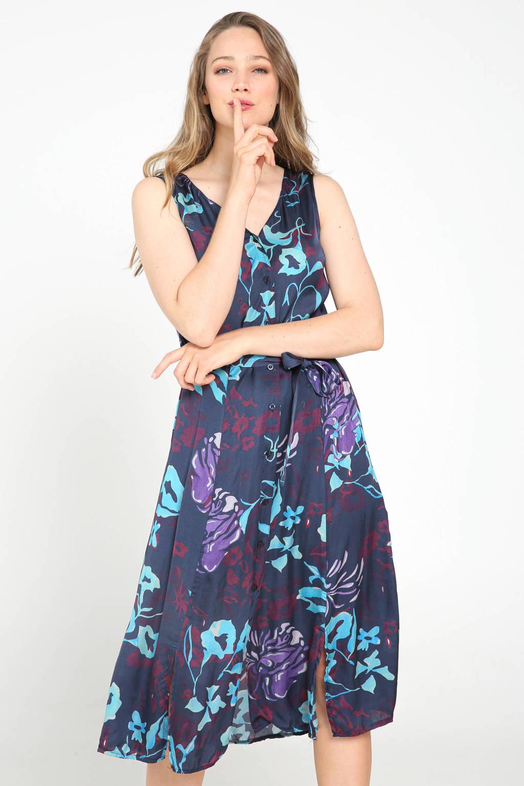 Cassis jurk met all over print en ceintuur blauw/paars, Blauw/paars