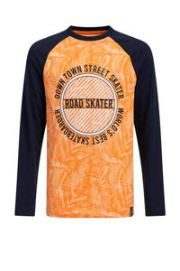 WE Fashion longsleeve met printopdruk oranje, Oranje