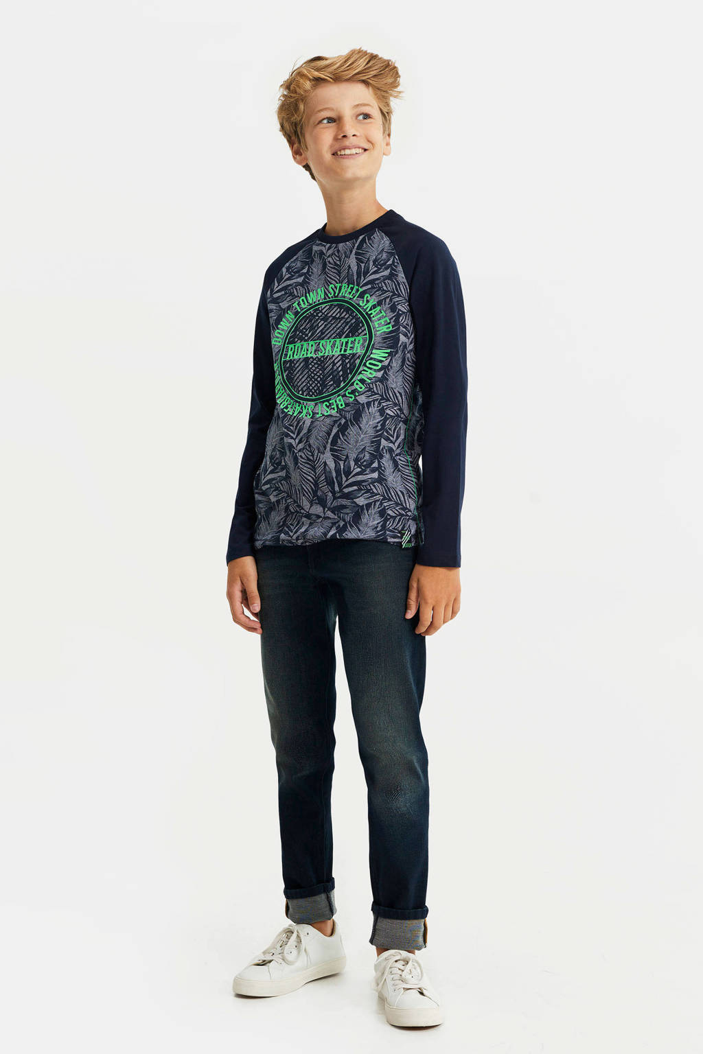 WE Fashion longsleeve met printopdruk donkerblauw/groen, Donkerblauw/groen