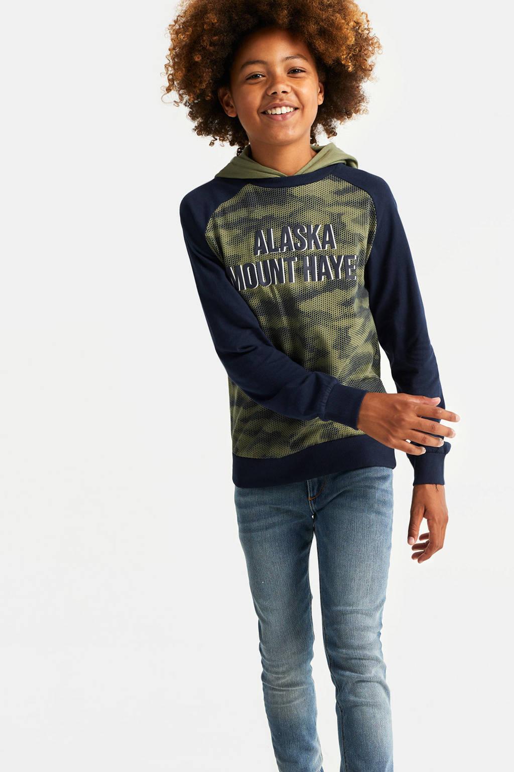 WE Fashion hoodie met tekst army groen/donkerblauw, Army groen/donkerblauw