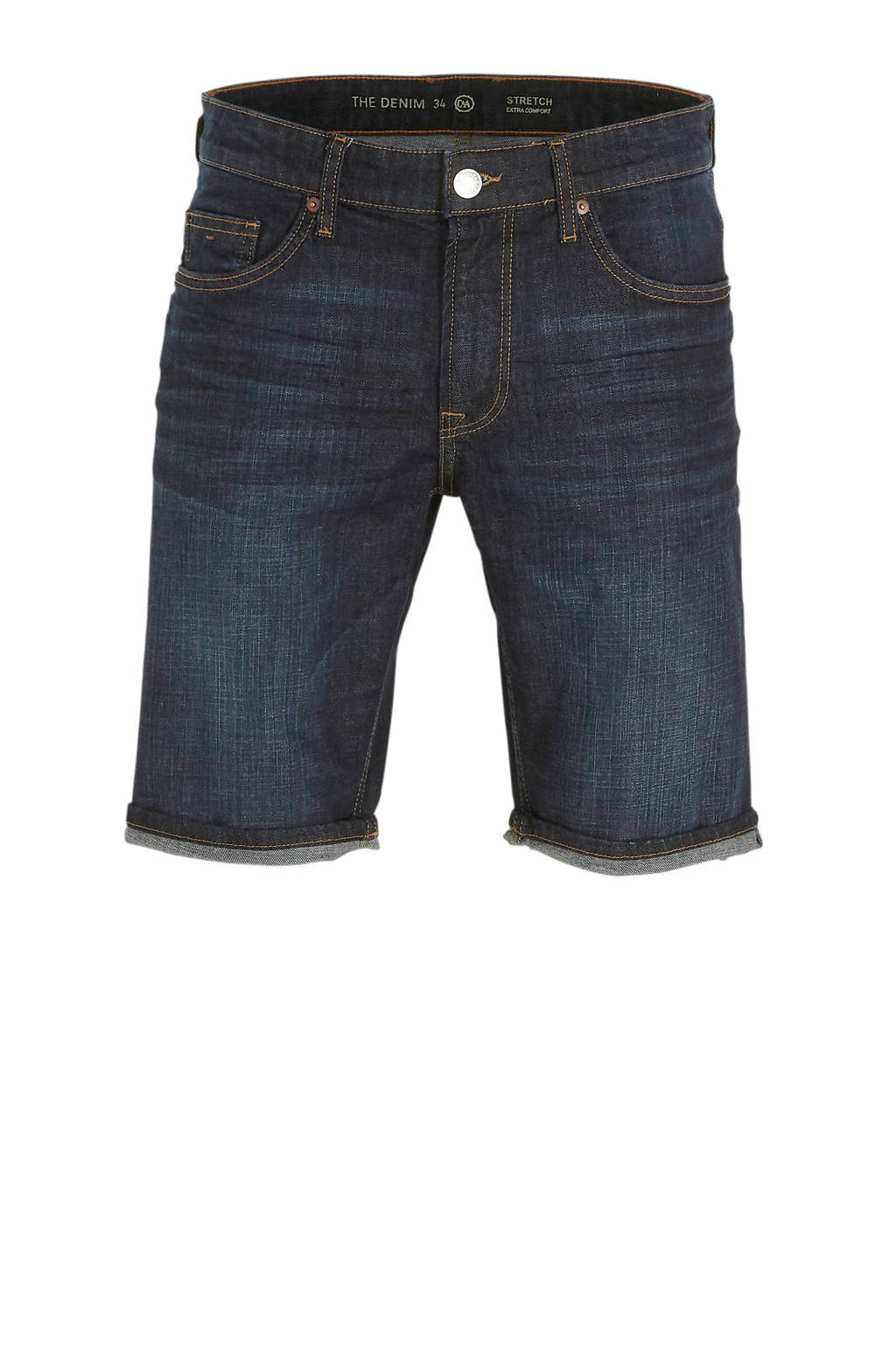 C&A The Denim slim fit jeans short donkerblauw, Donkerblauw