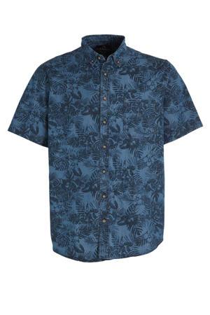 regular fit overhemd met biologisch katoen donkerblauw