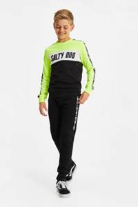 WE Fashion Salty Dog slim fit joggingbroek met zijstreep zwart/wit, Zwart/wit