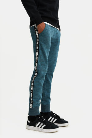 gemêleerde slim fit joggingbroek met zijstreep petrol