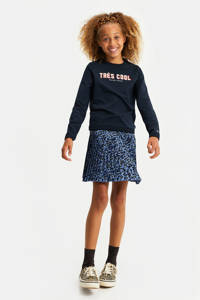 WE Fashion sweater met tekst en borduursels donkerblauw, Donkerblauw